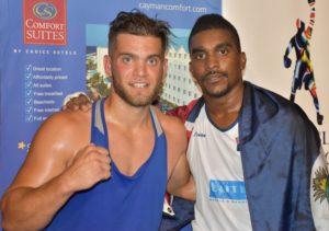 Yanik Huet Cardinal (L) with Dariel Ebanks after the fight.