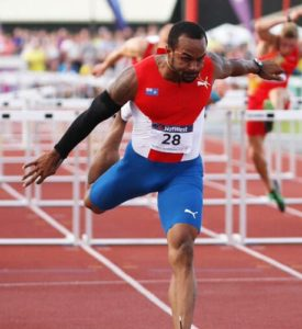 Forbes is the National Record holder in the 110m hurdles.