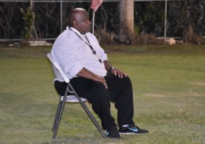 Coach Elbert casts a watchful eye over training.