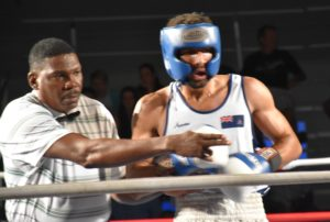 Peart gives instructions to Jason Parchment during the fight night vs Canada.