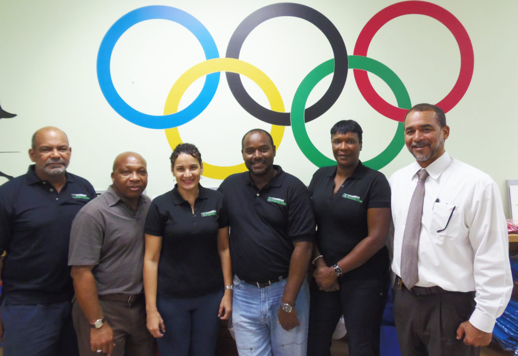 Donald McLean CIOC President and Caribbean RADO representative for Cayman, Dr. Verley Campbell, Dr. Ruthlyn Pomares Doping Control Officer (DCO), James Myles MADC Chairman and DCO, Merta Day DCO, Joel Francis Ministry of Sports MADC representative.