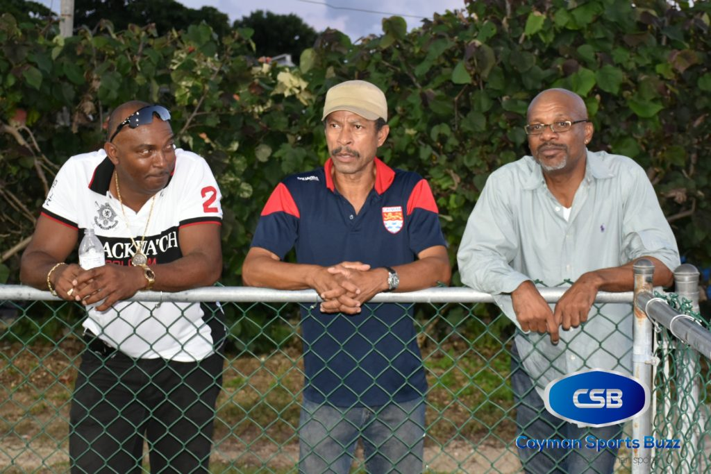 CIFA President Lee Ramoon (right) and National U17 coach Ernie Seymour were among those taking in the action at the Annex.