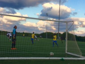 Scholars Int'l keeper Jermaine Brown did his best as his team surrendered two goals.