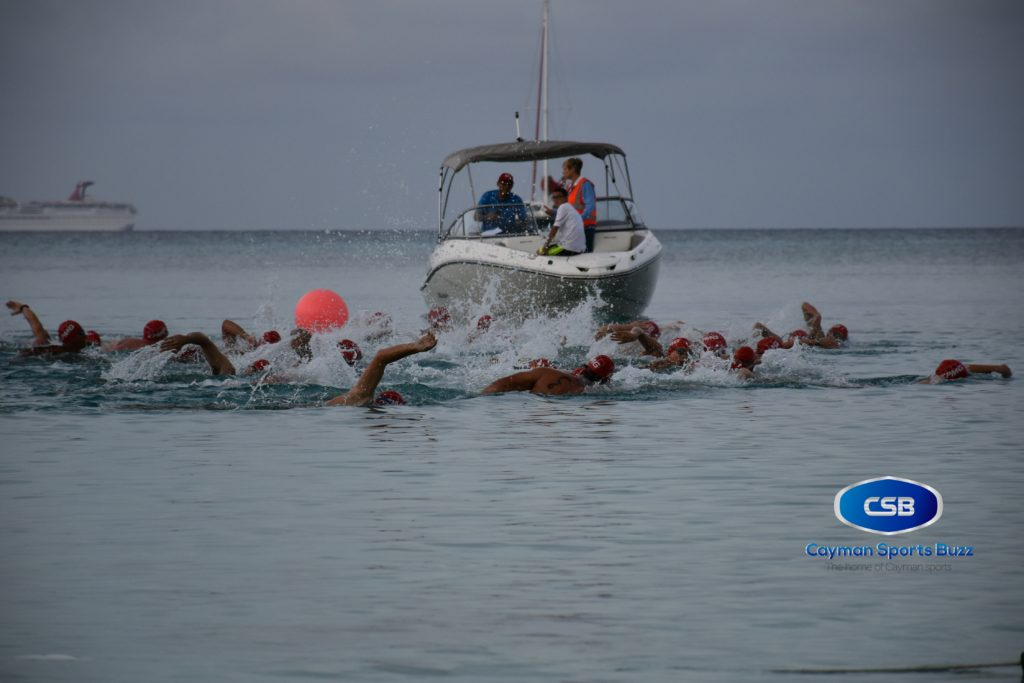 More than 40 swimmers set off for the early morning swim