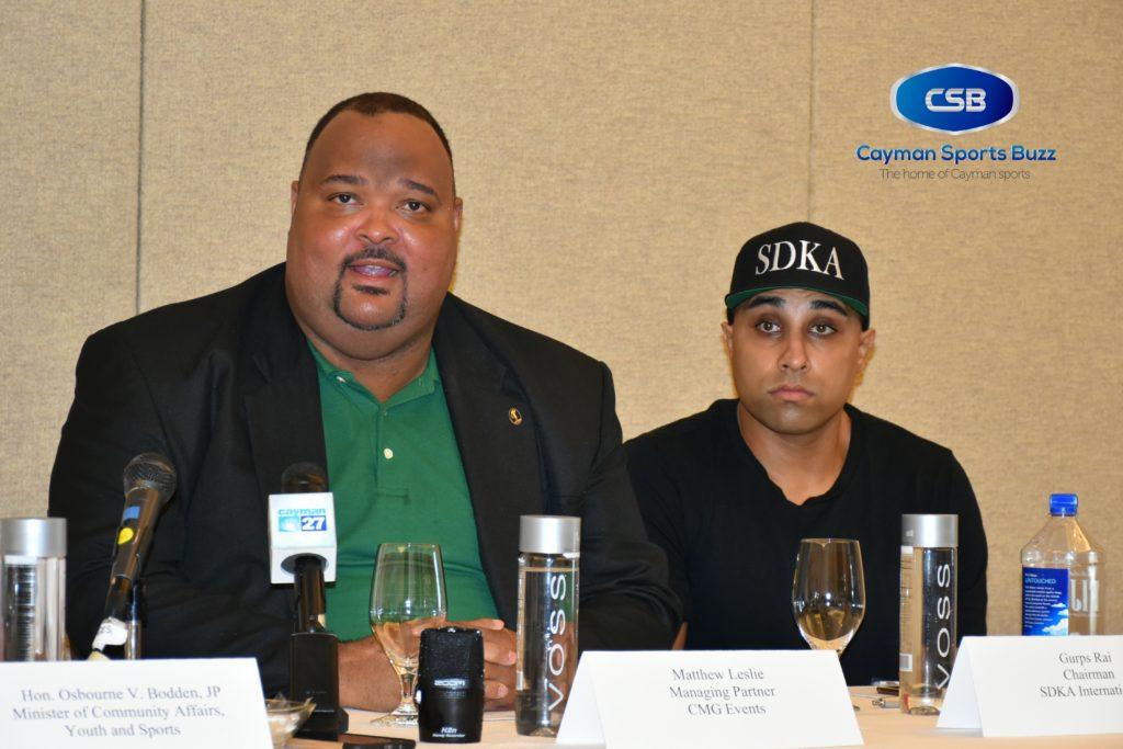 CMG Events Managing PArtner Matthew Leslie (left) makes the announcement. Looking on is Burps Sing Rai of sponsors SDKA International.