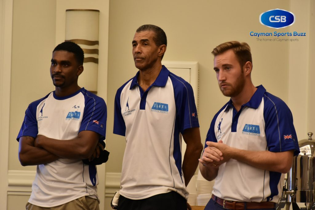 Looking on with anticipation (l-r): Dariel Ebanks - boxer, Donie Anglin - trainer, Dan Hewitt-Dean - boxer.