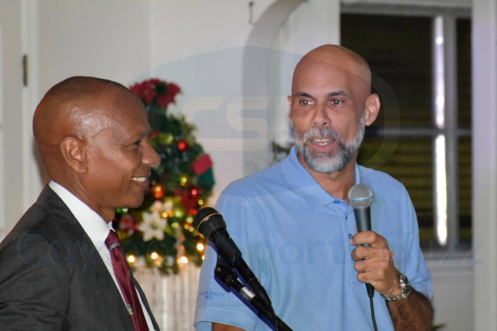 Jimmy Adams talks cricket during a Q&A session with Cayman Cricket VP Hector Robinson.